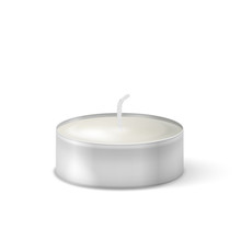 Vector 3d Burning Realistic Candle Light Or Tea Light Icon Closeup Isolated On White Background. Tea Candle Or Candle In A Case. Design Template, Clipart For Graphics. Happy Diwali Festival, Birthday
