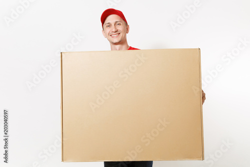 Fényképezés Delivery man in red uniform isolated on white background