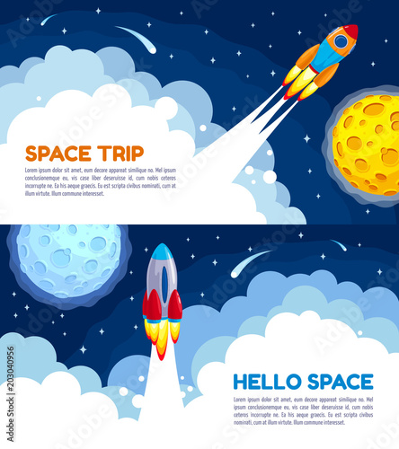 Space Trip Rocket Vector Illustration For Hello Space Banners Or