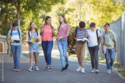 Fotografia  Smiling school kids walking on road in campus