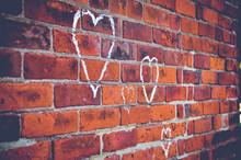 Chalk Hearts On Brick Wall
