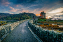Eilean Donan Castle And A Dramatic Sunset Sky On A Halloween Evening