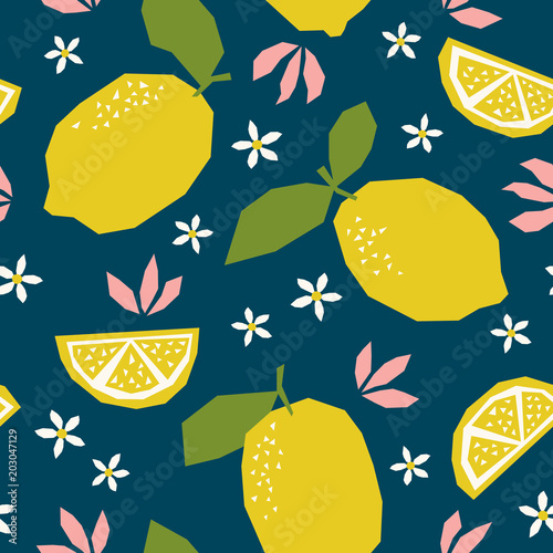 seamless pattern with lemons and blossoms - 203047129