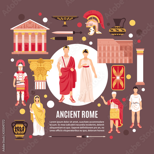 Ancient Rome Flat Composition Poster Canvas-taulu