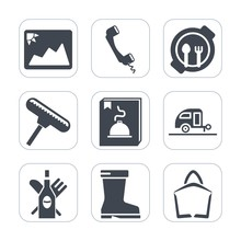 Premium Fill Icons Set On White Background . Such As Call, Phone, Trailer, Footwear, Plate, Communication, Leather, Blank, Vacation, Table, Sale, White, Red, Fashion, Lunch, Bag, Journey, Kid, Food,
