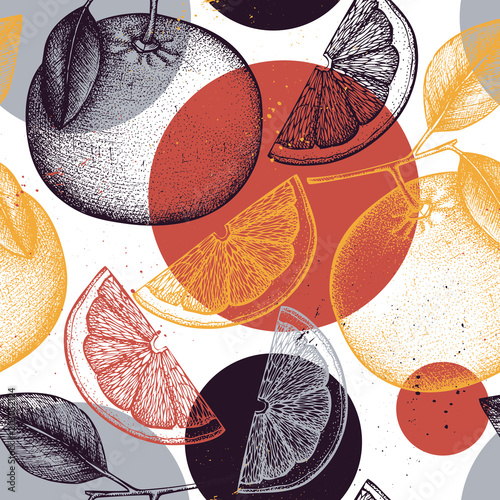 Vector seamless pattern with ink hand drawn citrus fruit, flowers, slice and leaves sketch. Vintage background with grapefruit plants. - 203052124