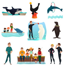 Dolphinarium Icons Set