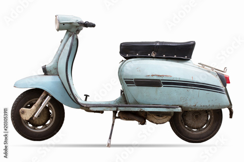 Montage in der Fensternische Scooter old motor cycle scooter on white background clipping path