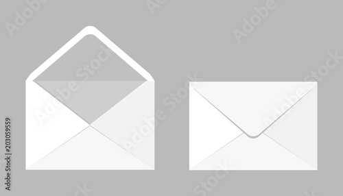 Fototapeta Set of two blank realistic envelopes for documents. An envelope template for your design. obraz