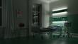canvas print picture - Bett in Krankenzimmer in Krankenhaus bei Nacht
