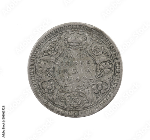 Fotografia  George VI King Emperor, Half Rupee India 1942, Indian old Coin or Indian Currenc