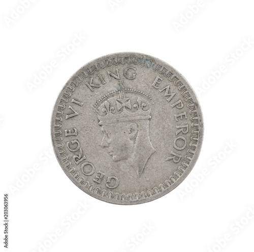 Poster  George VI King Emperor, Half Rupee India 1942, Indian old Coin or Indian Currenc