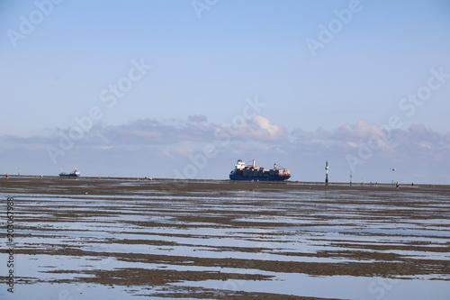Spoed Foto op Canvas Noordzee Ebbe der Nordsee vor Cuxhaven