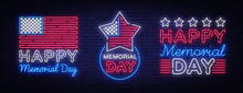 Happy Memorial Day Collection Neon Signs. Neon Signboard Greeting Card, Light Banner, Night Sign Advertising Celebration Memorial Day, USA Holiday. Vector Illustration