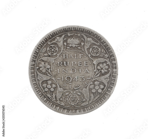 Poster  George VI King Emperor, Half Rupee India 1943, Indian old Coin or Indian Currenc