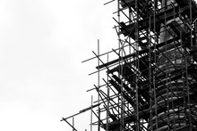 Silhouette Of Scaffolding At The Building