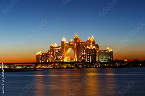 Night view Atlantis Hotel in Dubai, UAE Wallpaper Mural