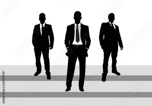 Photo Ejecutivos, hombres con traje y corbata, siluetas, escaleras y fondo blanco