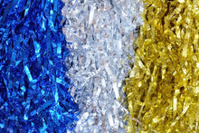 Close Up Blue, Silver And Gold Pompoms Use For Abstract Background