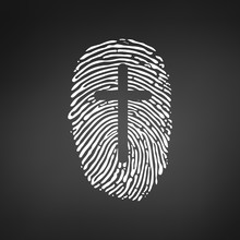 Thumb Prints Or Fingerprint With Cross Showing Christian Identity. Vector Illustration Isolated On Black Modern Bacground.
