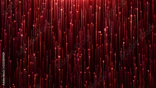 Photo  Glamorous red shine Line and particles on a black background
