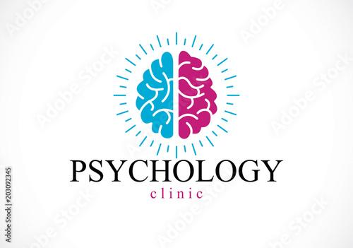 Billede på lærred Human anatomical brain, mental health psychology conceptual logo or icon, psychoanalysis and psychotherapy concept