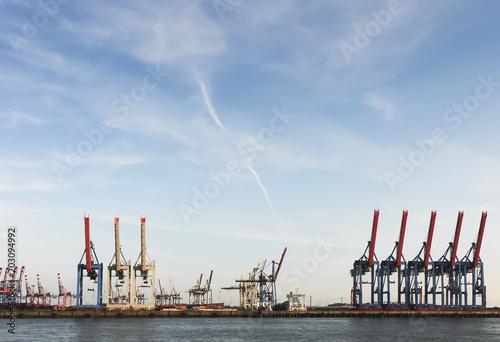 Poster Poort Hafenkräne im Hamburger Containerhafen