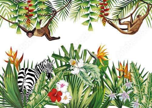 Tropical illustration with flowers plants monkey zebra