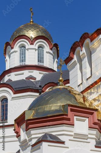 NEW ATHOS, ABKHAZIA, GEORGIA, 19 SEPTEMBER 2017: Domes of Monastery of St Wallpaper Mural