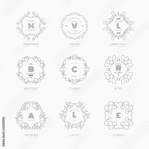set of luxury monogram logo templates elegant design for business