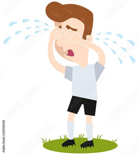 Fussball Cartoon Fussballspieler In Weissem Trikot Steht Auf
