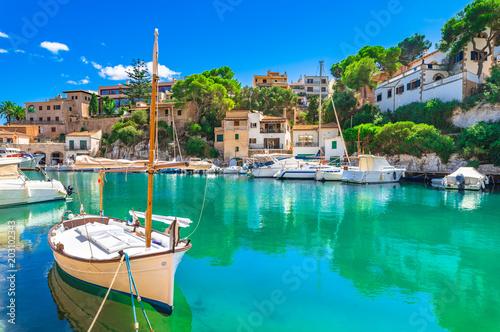Printed kitchen splashbacks Mediterranean Europe Spanien Mittelmeer Küste, Insel Mallorca Bucht Cala Figuera, Santanyi