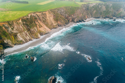 Poster Luchtfoto Aerial view of some cliffs in Asturias, north of Spain