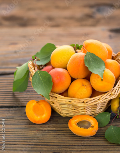 Fresh apricots in the basket