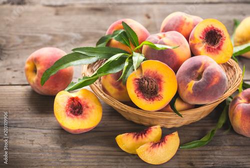 Fotografie, Obraz  Fresh peaches in the basket