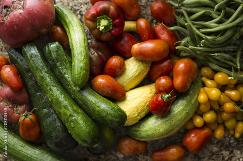 High angle view of vegetables on table