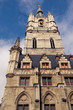 canvas print picture - Low-angle view on tower of the Ghent Belfry, Belgium