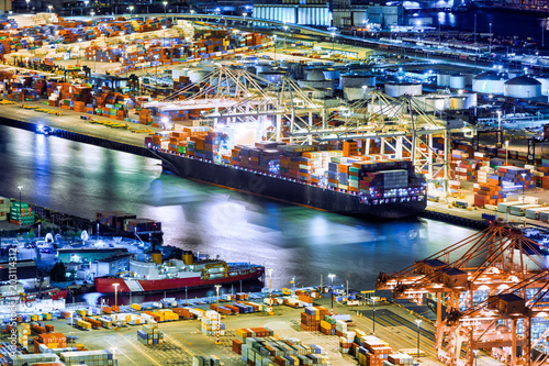 Aerial view of a cargo ship loaded in the Seattle harbor container terminal
