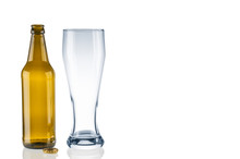 Empty Beer Bottle And Tumbler ...