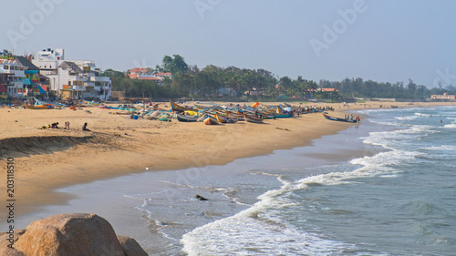 Fényképezés  The beach at Mahabalipuram on the Coramandel coast in Tamil Nadu overlooking the