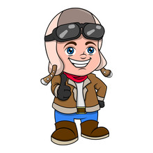Little Pilot With Thumbsup Pose Cartoon Vector