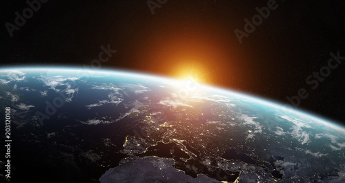 Papiers peints Restaurant View of blue planet Earth in space 3D rendering elements of this image furnished by NASA