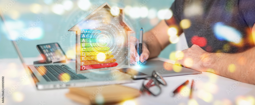 Fototapeta Graphic designer using 3D rendering energy rating chart in a wooden house