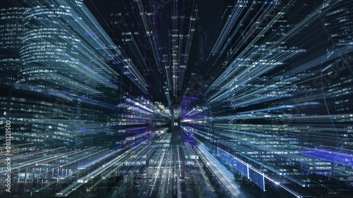 Hi-tech abstract background. Cityscape of skyscrapers of Moscow City Zooming