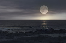 Full Moon Night In A Beach