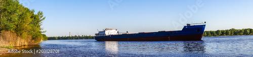 Cargo river barge Fototapeta