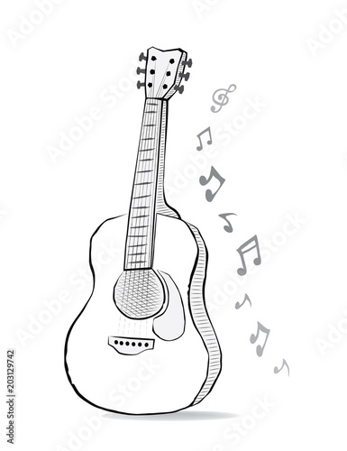 Guitar Sketch Drawing With Music Notes Instrument And Melody In
