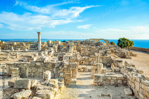 Photo Kourion archaeological site, ruins of ancient town, Cyprus, Limassol district