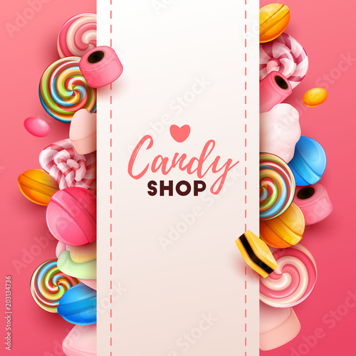 Fotografía  Colorful  background with sweets. Vector Illustration