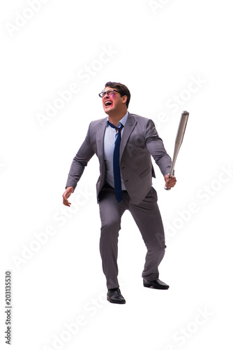 Businessman with baseball bat isolated on white Poster